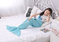 Wholesale 140x70cm Children Fashion Knitted Mermaid Tail Blanket Super Soft Warmer Blanket Bed Sleeping Costume Air condition Knit Blanket Colors
