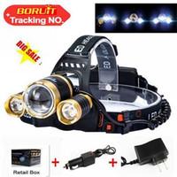 achat en gros de zoomable tête de lumière dirigée-Zoomable T6 Xm-L + 2R5 conduit phare 2000Lm lampe frontale lampe torche Linterna Cree Xml T6 18650 batterie / ac voiture chargeur lumière de pêche