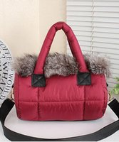 al por mayor almohadas de piel de conejo-Bolso de piel femenina bolsa de piel de zorro bolsa de abajo de la chaqueta de espacio Bolso de mensajero del hombro Bolso de almohada de felpa de conejo