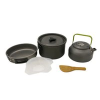 Wholesale 2 People Portable Outdoor Cooking Set Pot Bowl Teapot Coffee Kettle Spoon Bowl Set Cookware Tableware Camping Picnic Hiking Utensils