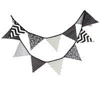 Vente en gros-3.2M noir blanc Wave Fabric Bunting Drapeaux Handmade Party Décoration Bannière Accueil Indian Tent Bunting Garland