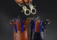 Wholesale Hairdresser leather bag Hair Comb pocket scissors Kit Bag Leather Satchel Bag Purse scissors
