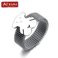 Wholesale 2017 European hot fashion latest bear titanium net surface ring promotion free distribution