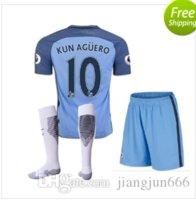 Wholesale 118 new Manchester City kids Jerseys DZEKO KUN AGUERO KOMPANY TOURE YAYA DE BRUYNE Home Away kits Shirt