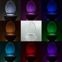 Wholesale 4 V Motion Activated Toilet Nightlight Human Body Induction Toilet LED Lamp Colors W Motion Sensor Night Lights Indoor Lighting
