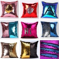 Wholesale 34 styles Double Sequin Pillow Case Cover Sequins Pillowslip Glow Pillow Case Cushion Cover Home Sofa Car Decor Bright Pillow Covers C1703