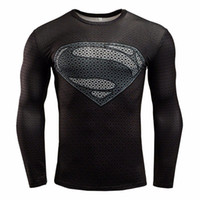 base layer compression shorts - 2016 Newest Marvel comics superheroes batman avengers sports T shirt man compression armour base layer long sleeved top fitness XS XL