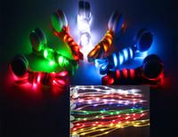 Wholesale LED Lamp beads Flashing Shoe Lace Fiber Optic Shoelace Luminous Shoe Laces Light Up Flash Glowing Shoeslace Disco Party