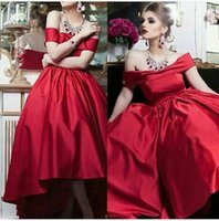 beautiful fashion models - Off the Shoulder Beautiful Red Satin Bateau Evening Gowns Custom made Front Short Long Back Ball Gown Evening Dress ED008