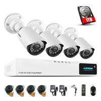 H.View 720P Système de caméra de sécurité CCTV 1TB HDD système de caméra CCTV 4CH AHD DVR 4 720P Caméra de sécurité Easy Smart Phone Access