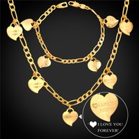 Wholesale I LOVE YOU Heart Bracelet Necklace Set Yellow Gold Plated Figaro Chain Jewelry Set For Women Valentine s Day Gift NH747