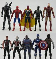 Wholesale 10pcs set inches Captain America action figures toys Ant Man Iron Man Spider Man model Movable Decoration cm DHL shipping