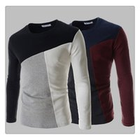 Wholesale Men T shirt Spring autumn Fashion O neck Hit Color Stitching Mens Casual Slim Fit Long Sleeves T Shirts US Size XS L