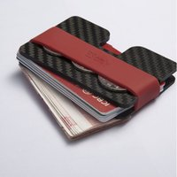 band bottle openers - Two plates Carbon fiber multi function card holder wallet bottle opener slim thin wallet with elastic rubber band coin purse