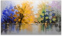 Wholesale 2017 New High Quality Knife Hande Painted Oil Painting Abstract Modern Contemporary Wall Decor Landscape Art on Canvas Lake Trees Picture