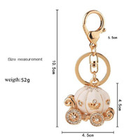 Wholesale Hot Sale Christmas Gifts Cute Big White Princess Pumpkin Carriage Crystal Charm Keychain Key Ring Car Keychain Freeshipping