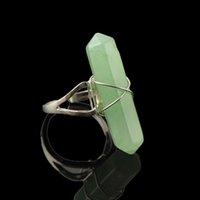 Wholesale Imitation Stone Crystal Resin Gem Ring Hexagonal Columns Ring New Fashion Summer Style Jewelry R933 R936