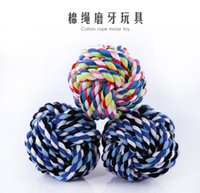 agility weaves - Cotton Knot Ropes Ball Resistant Bite Bone Dog Toys Hand woven Rope Ball Toys Molars Glister Training Pet Supplies Durable For Any Size Dogs