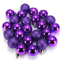 achat en gros de ornement de noël-24Pcs / lot Chique Christmas Baubles Tree Plain Glitter Chrismas Day Ornament Ball Décoration
