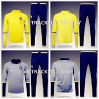 Wholesale 2016 Winter Sweater Juventus Tracksuit Survetement Soccer Sets Uniform Football Yellow Grey Juve Sweater Warm Up training Pants