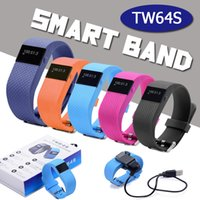 Wholesale TW64S Heart Rate Pulse SmartBand Inteligente Banda Pulse Measure Sport Smart Wristband Health Fitness Tracker With Reatil Package DHL