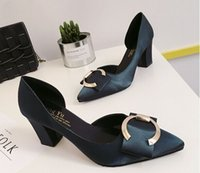 Wholesale Summer brand new chunky heel square buckles satin women shoes Shallow mouth single shoes