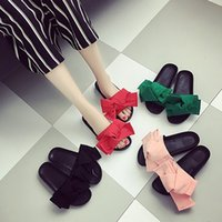 Wholesale Brand Design Women Silk Bowtie Flip Flop Beach Wedges Candy Color Sandals Sandalas Slippers Slides Shoes