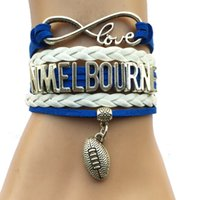 australian gold wholesale - Drop Shipping Infinity Love N Melbourne AFL Bracelet Customized College Football Charm Team Club Friendship Australian Club Gift