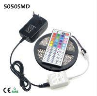 Cheap Wholesale-44 Keys Controller   12V 3A Adapter   5M 300leds   Roll 5050 SMD RGB LED Strip light Ribbon For DIY Indoor Decoration lighting