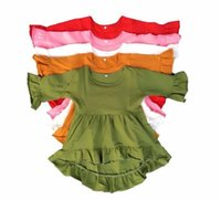 Wholesale baby girls icing ruffle tops children cotton high low tunic kids fifth sleeve solid colors shirts