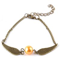 Wholesale Quidditch golden snitch pocket Harry Charm bracelets wings Potter vintage retro tone for men and women