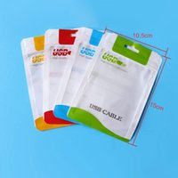 Wholesale 15 cm Zipper Plastic Retail bag Package hang hole Poly packaging for USB cable poly opp packing bag