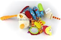 Al por mayor-bebé felpa perro animal / león / zorro juguete cama cuna colgante anillo campana juguete suave bebé traqueteo temprana educativa muñeca
