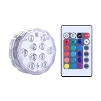 Wholesale 10 LED RGB Submersible LED Lights Multi Color Waterproof Wedding Party Vase Base Floral Lamp Romote Control