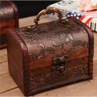Wholesale Vintage Jewelry Box Organizer Storage Case Large Wood Flower Pattern Metal Container Handmade Wooden Small Boxes ZA1381