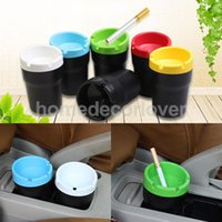 ashtray bins - Colorful Portable Car Ashtray Cylinder Plastic Cigarette Butt Bucket Fits Cup Holder Auto Accessory Extinguishing Bin Men Gift