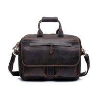 Wholesale Vintage Men Leather Briefcase Handbags Business bag Crazy Horse Genuine Leather portfolio men briefcase male laptop bag office