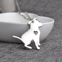 Pendant Necklaces Celtic Unisex Wholesale-Pit Bull Necklace Pitbull Dog Pendant Pet Puppy Necklaces & Pendants Delicate Women Necklace Animal Charms Christmas Gifts