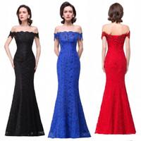 Wholesale 2017 Lace Long Prom Dresses Off Shoulder Mermaid Bandage Back Full Length Elegant Formal Evening Gowns Real Image CHeap Dress BZP0858