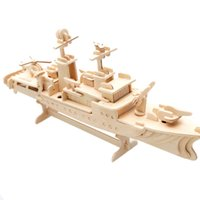 aircraft carrier training - Boy Toy Children Kid Educational Model Brain Imagination Training D Wooden Jigsaw Aircraft Carrier Warship Puzzle DIY Handcraft
