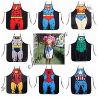 Wholesale Fedex DHL Free superhero apron superman batman Kitchen aprons spiderman flash hulk apron Funny Cooking Cartoon Aprons party gifts L72 B