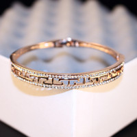Wholesale European Brand Women Brief Zircon Bangles Rose Gold Plated Hollow Out Great Wall Pattern Cuff Bracelet Bangles Fashion Jewelry