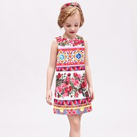 Wholesale W L MONSOON Vestido Princesa Girls Dress Summer Brand Kids Dresses for Girls Clothes Rose Flower Princess Dress Costumes
