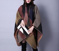 Wholesale Autumn and winter scarf all match Plaid shawl lady travel Cashmere Europe folk style split thick Cloak