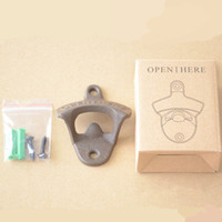 Wholesale with Box Bottle Openers Wall Mounted Cast Iron Beer Bottle Caps Crafts Vintage Metal Kitchen Open Bar Tools