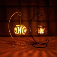 arts and crafts activities - Retro Style Pumpkin candlestick wrought iron Home Arts and Crafts furnishing articles Romantic Wedding Party Candle Holders