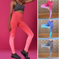 Wholesale Fashion Women Girl s Running Yoga Outfits Gym Sports Ombre Pants Legging Elastic Trousers Outdoor High Waist Fitness EB429