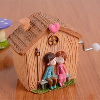 bamboo fiber processing - Fashion hand music box Creative household adornment furnishing articles Small house resin process students present