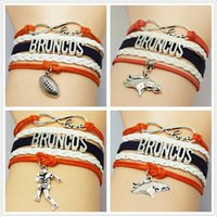 baseball bracelets diy - 4 Styles Infinity Charm Bracelets Sports Denver Broncos Multilayer Woven Leather Bracelets Antique Cross Anchor Baseball Diy Charm Bangles