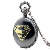 Wholesale New Arrival Cool Black Case Superman Theme Pocket Watch Blue Dial Quartz Fob Watch With Chain Necklace Gift